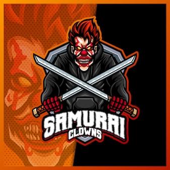 Modelo de ilustrações de mascote de samurai de palhaço assustador, logotipo de espada cruzada para streamer
