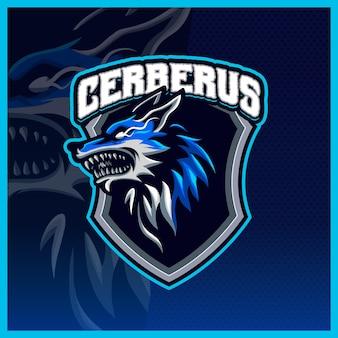 Modelo de ilustrações do logotipo da mascote cerberus head hellhound esport, logotipo wolfgang para streamer