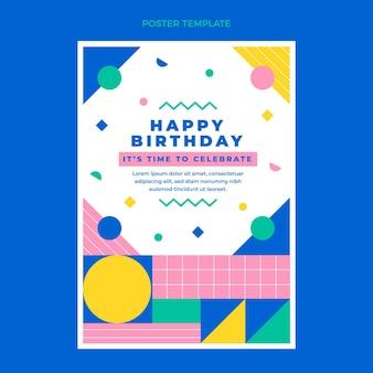 Modelo de impressão de aniversário em mosaico de design plano