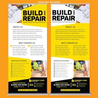 Modelo de impressão de banner de enrolar para consertos de casas em estilo de design moderno