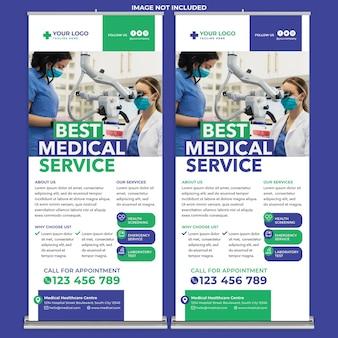 Modelo de impressão de banner médico enrolado em estilo de design moderno