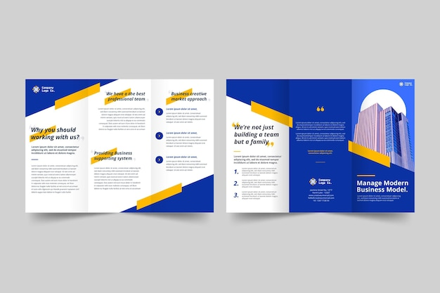 Modelo de impressão de brochura com três dobras em tons de azul
