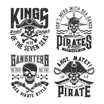 Modelo de impressão de camiseta com caveiras de piratas