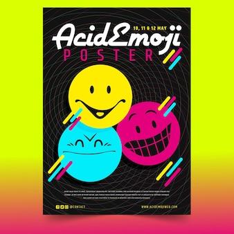 Modelo de impressão de emoji ácido de design plano criativo