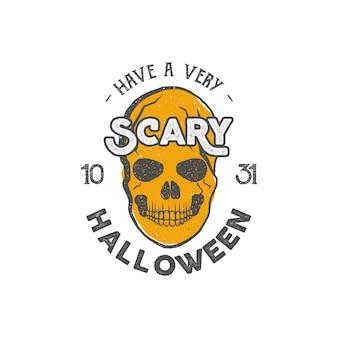 Modelo de impressão de festa de halloween com crânio e tipografia - tem uma festa assustadora.