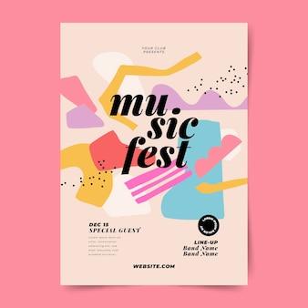 Modelo de impressão de festival de música abstrato