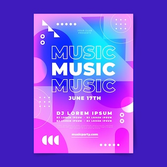 Modelo de impressão de festival de música gradiente