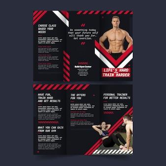 Modelo de impressão de folheto com três dobras fitness