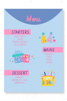 Modelo de impressão de menu de festa de aniversário infantil