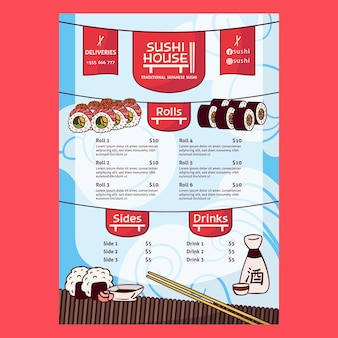 Modelo de impressão de menu de restaurante de casa de sushi