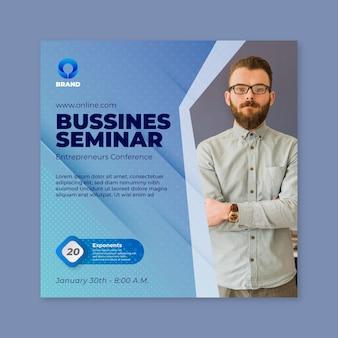 Modelo de impressão de panfleto quadrado de seminário de negócios em geral
