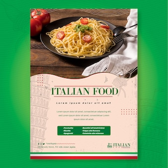 Modelo de impressão de pôster de comida italiana deliciosa