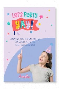 Modelo de impressão de pôster de festa de aniversário infantil