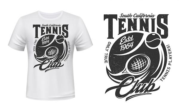 Modelo de impressão de t-shirt de esporte clube de tênis