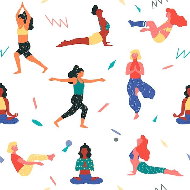 Modelo de impressão sem costura padrão com as mulheres em poses de ioga como poses de barco, árvore, guerreiro, cobra e birmanês.
