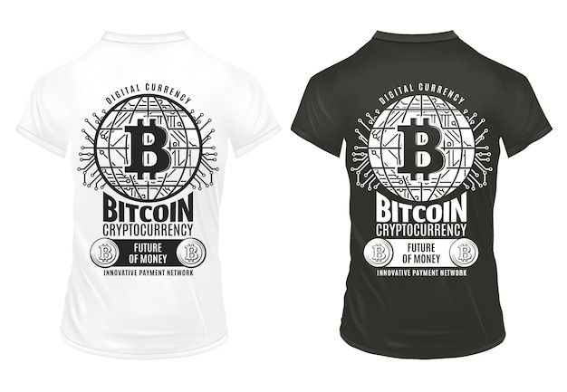 Modelo de impressões de criptomoeda bitcoin vintage com rede de pagamento virtual de moedas de inscrição em camisas pretas e brancas isoladas