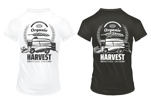 Modelo de impressões vintage de grãos orgânicos naturais com inscrições espigas de trigo colhendo veículos em camisas isoladas