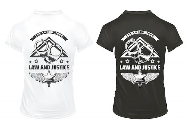 Modelo de impressões vintage de lei e justiça com algemas de inscrição e distintivo da polícia em camisas isoladas