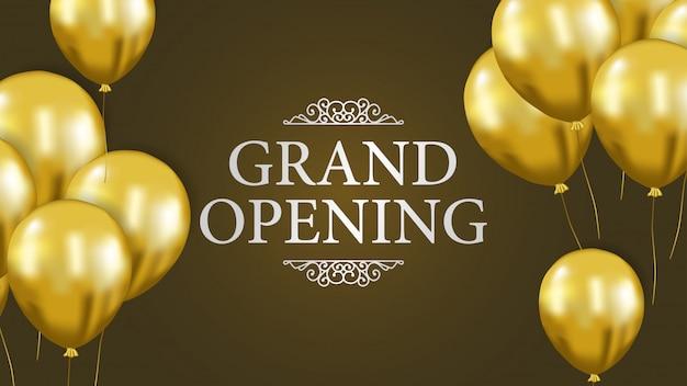 Modelo de inauguração com balão de ouro