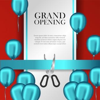Modelo de inauguração com balões azuis e fita de corte