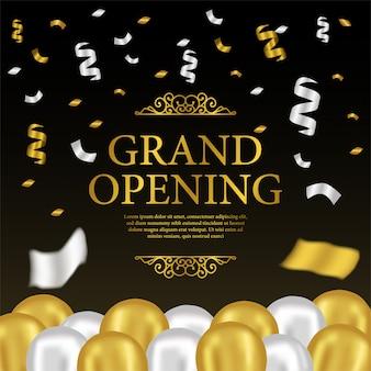 Modelo de inauguração com balões de ouro e prata