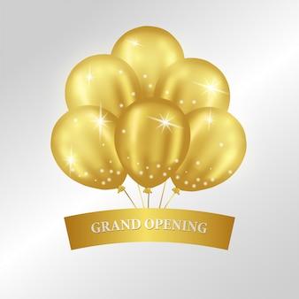 Modelo de inauguração com balões de ouro