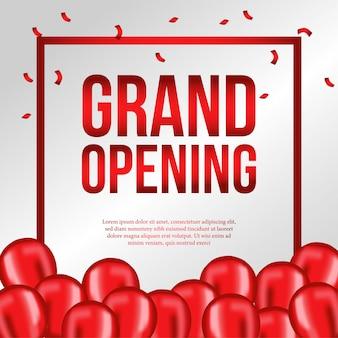 Modelo de inauguração com balões vermelhos