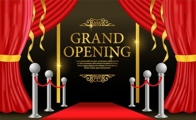 Modelo de inauguração com cortina vermelha no palco