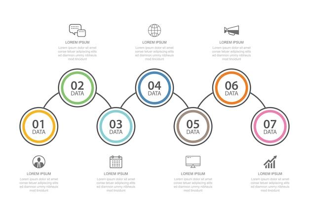 Modelo de índice de linha fina de guia de infográficos de 7 dados. abstrato de ilustração vetorial. pode ser usado para layout de fluxo de trabalho, etapa de negócios, banner, design de web.