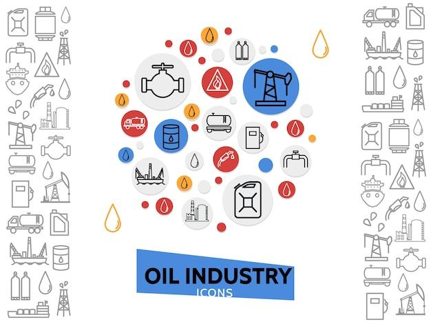Modelo de indústria de petróleo com ícones de linha petroquímica e gás combustível em círculos coloridos ilustração isolada