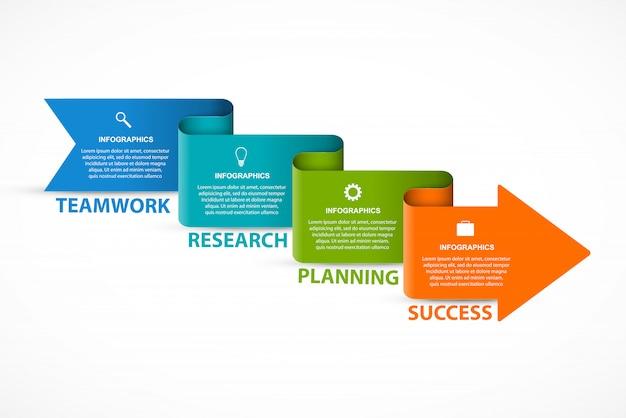 Modelo de infografia com flechas.