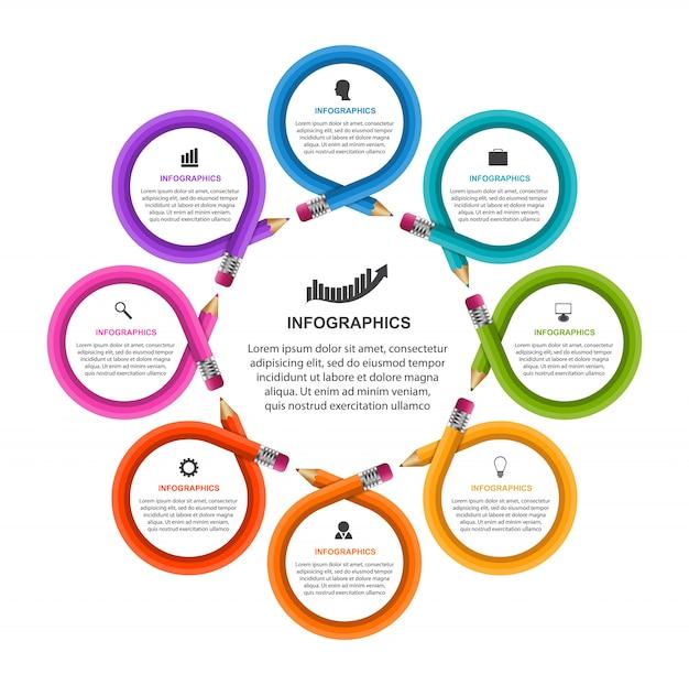 Modelo de infografia com lápis. pode ser usado para apresentações de educação ou negócios, banner de informações.