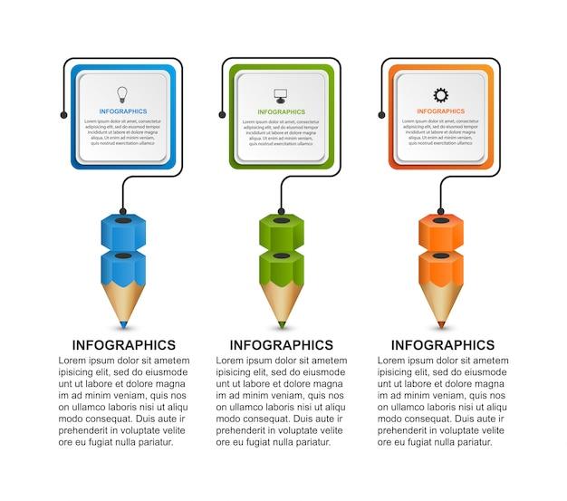 Modelo de infografia com lápis.