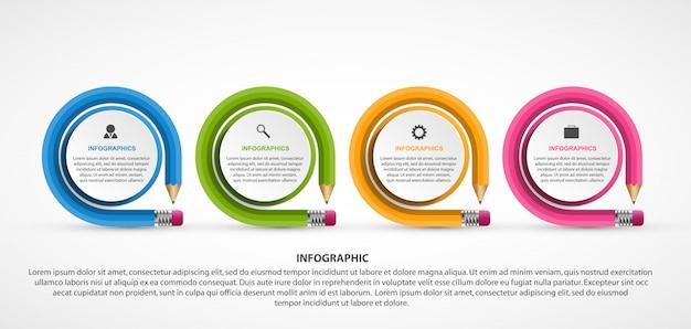 Modelo de infografia de educação com lápis.