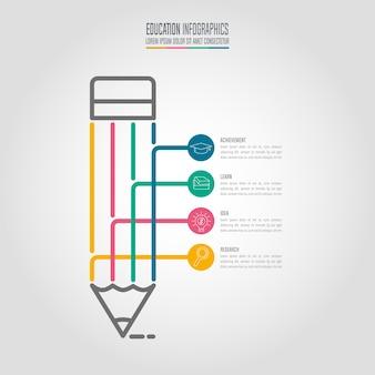 Modelo de infografia de educação, opção de 4 passos. vetor de desenho infográfico da linha do tempo.