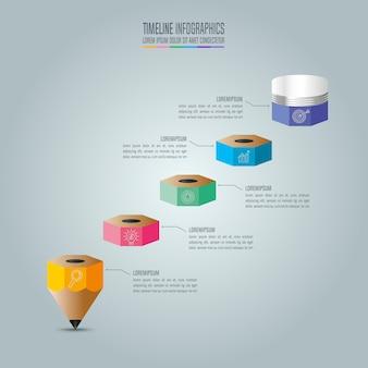 Modelo de infografia de educação, opção de 5 etapas. vetor de desenho infográfico da linha do tempo.