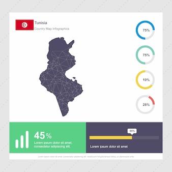 Modelo de infografia de mapa & bandeira da tunísia