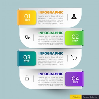 Modelo de infografia de quatro etapas.