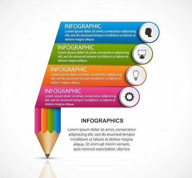 Modelo de infografia. lápis com fitas coloridas.