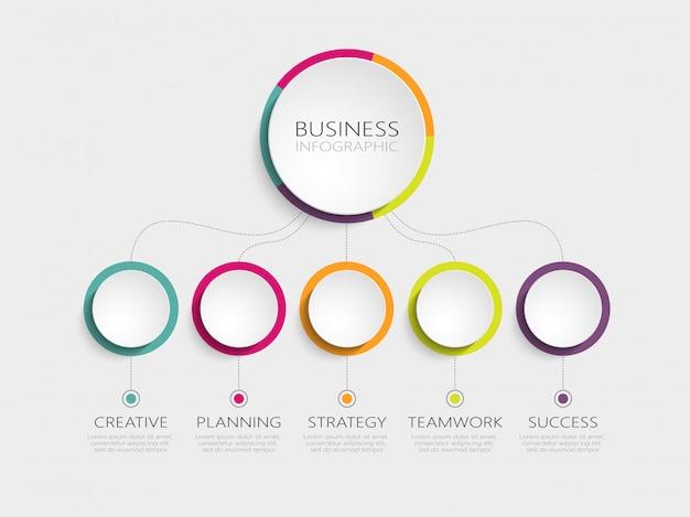 Modelo de infográfico 3d abstrato com cinco etapas para o sucesso