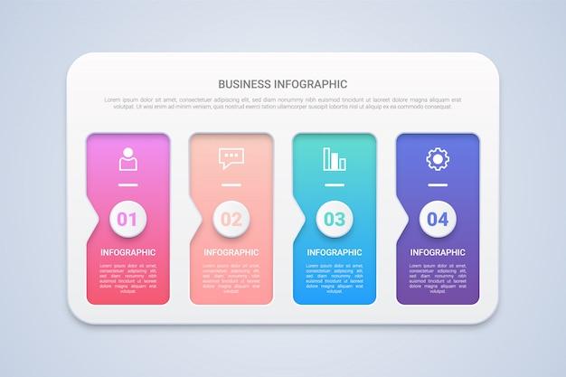 Modelo de infográfico 3d moderno de 4 passos