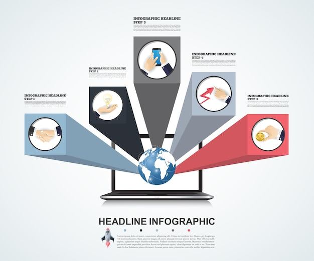 Modelo de infográfico 3d. visualização de dados. pode ser usado para layout de fluxo de trabalho, número de opções, etapas, diagrama, gráfico, apresentação, gráfico de linha do tempo e web design. ilustração vetorial.