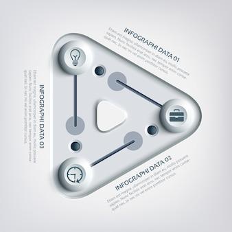 Modelo de infográfico abstrato com controles deslizantes de painel triangular, três opções e ícones de negócios