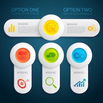 Modelo de infográfico abstrato com opções de texto de banners botões redondos coloridos e ilustração de ícones