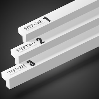 Modelo de infográfico abstrato da web com barras retas cinza e três opções no escuro