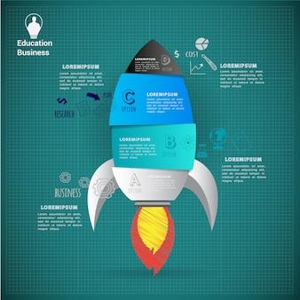 Modelo de infográfico abstrato de arranque de foguete