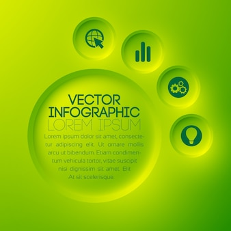 Modelo de infográfico abstrato de negócios com botões e ícones redondos verdes de texto