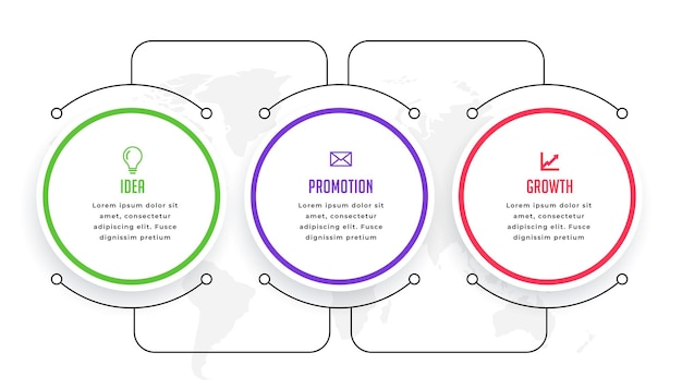 Modelo de infográfico circular com conexão de linha