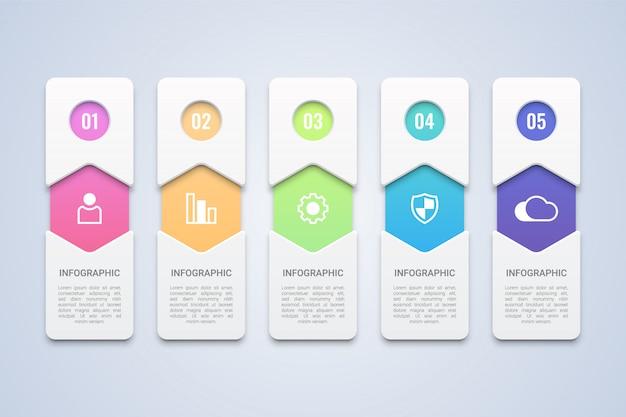 Modelo de infográfico colorido 5 etapas