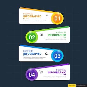 Modelo de infográfico colorido com 4 etapas